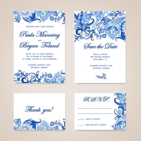 伝統的な民族花ペイズリー飾りと結婚式の招待カードのセットです。日付、RSVP、ありがとうカード印刷用テンプレートを保存招待。