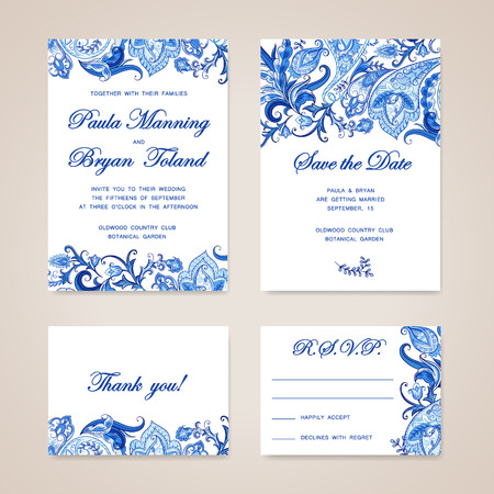 marriage ceremony: Set of wedding invitation card with traditional ethnic flower paisley ornament. Invitation, Save the date, RSVP, Thank you card printable template.
