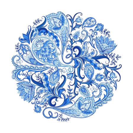 ペイズリー民族装飾的な印刷のための装飾をラウンドします。花のデザインは手描き下ろしイラストです。