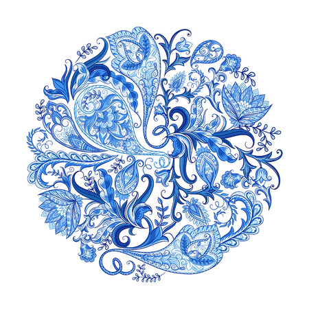 Paisley ethnic decorative round ornament for print. Floral design hand drawn  illustration. 일러스트