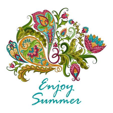 Paisley ethnic decorative ornament for print. Floral design hand drawn  illustration. Illustration