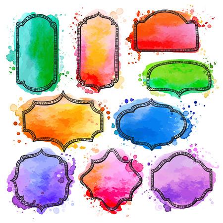 Set di mano disegnato frame ad acquerello, etichette, scudetti. Modello di disegno sullo sfondo con texture logo. Archivio Fotografico - 41027653