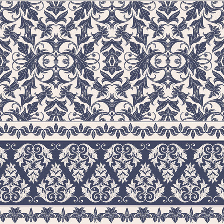 Seamless decorative damask floral pattern. Royal wallpaper. Floral background best for invitations or announcements. Elegant luxury texture for wallpapers, borders, backgrounds and page fill.
