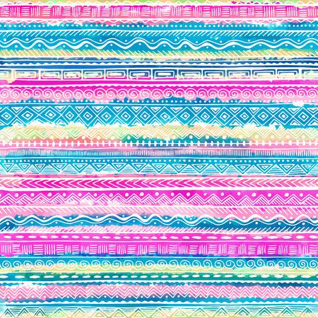 tribales: La mano sin fisuras elaborado patrón étnico. Vector de fondo tribal para la tela, textil, papel de regalo, páginas web, invitaciones de boda, las tarjetas de fecha.