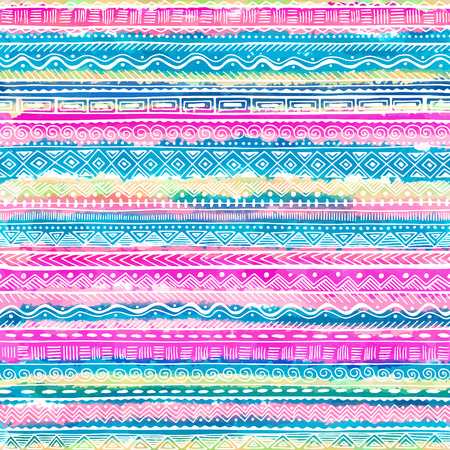Seamless hand drawn ethnic pattern . Vector tribal background for fabric, textile, wrapping paper, web pages, wedding invitations, save the date cards. Stock Illustratie