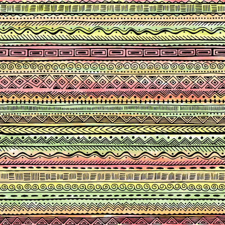 stripes pattern: Seamless decorative hand drawn ethnic pattern . Vector tribal background for fabric, textile, wrapping paper, web pages, wedding invitations, save the date cards. Illustration