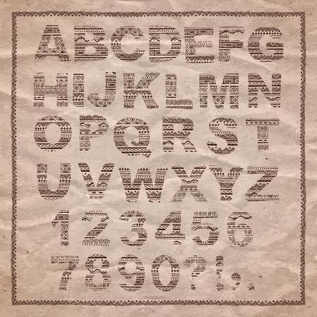 paper craft: Mano alfabeto dibujado en estilo étnico. Vector cartas tribales en el fondo de papel artesanal.