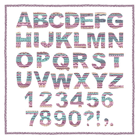 tribal pattern: Hand drawn alphabet in ethnic style. Vector abstract tribal letters.