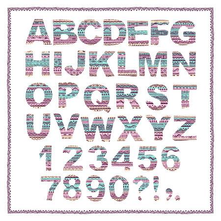 tribales: Mano alfabeto dibujado en estilo �tnico. Vector abstractas cartas tribales.
