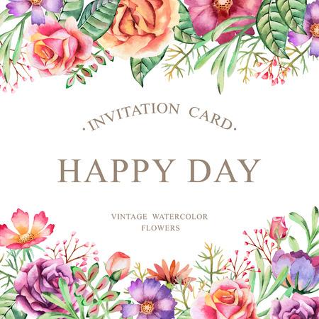 Hand getekende aquarel kaart. Achtergrond voor flyers, posters, borden, uitnodiging, huwelijk, groet en sparen de datum kaarten. Stockfoto - 41987141