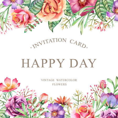 Hand drawn watercolor card. Background for flyers, posters, placards, invitation, wedding, greeting and save the date cards.