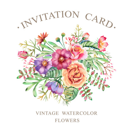 Hand drawn watercolor flowers. Template for flyers, posters, placards, invitation, wedding, greeting and save the date cards.