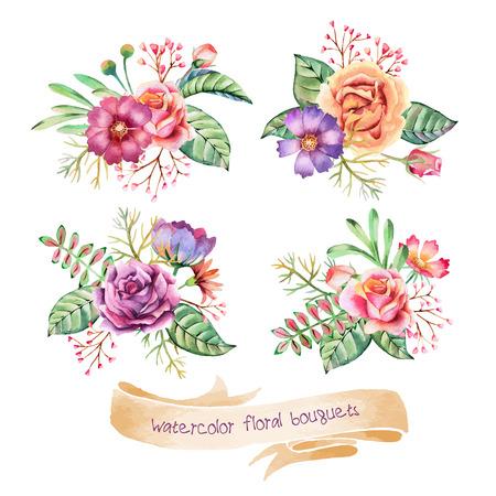 Disegno a mano mazzi di fiori ad acquerello. Fiori romantici per volantini, poster, manifesti, inviti, matrimonio, auguri e salvare le carte data. Archivio Fotografico - 41987450