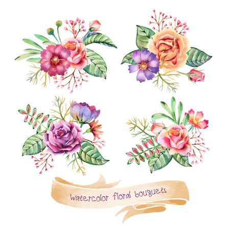 Hand drawn watercolor bouquets. Romantic flowers for flyers, posters, placards, invitation, wedding, greeting and save the date cards. Stock Illustratie