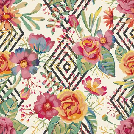 textil: Mano acuarela dibujada estampado de flores. De fondo sin fisuras rom�ntica para carteles, pancartas, invitaci�n, boda, saludo y las tarjetas de fecha. Vectores