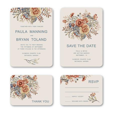 婚禮: 設置的婚禮邀請卡與手繪水彩復古花卉。婚禮,邀請,保存日期,RSVP,感謝卡打印模板。 向量圖像
