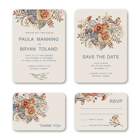 Set of wedding invitation card with hand drawn vintage watercolor flowers. Wedding, Invitation, Save the date, RSVP, Thank you card printable template. Stock Photo