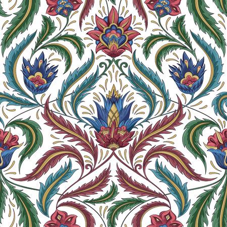 Fiori dell'annata senza motivo. Tradizionale decorativo ornamento retro. Tessuto, tessile, carta da imballaggio, carta background, modello carta da parati. Illustrazione vettoriale. Archivio Fotografico - 43965157