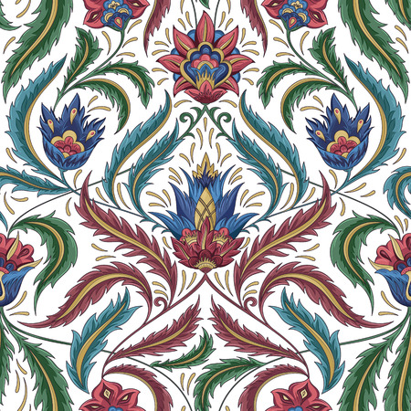floral decoration: Vintage flowers seamless  pattern. Traditional decorative retro ornament. Fabric, textile, wrapping paper, card background, wallpaper template. Vector illustration.