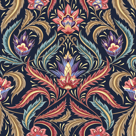 renaissance art: Vintage flowers seamless  pattern on navy background. Traditional decorative retro ornament. Fabric, textile, wrapping paper, card background, wallpaper template.