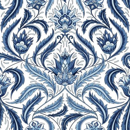 Vintage fleurs seamless pattern. Rétro ornement décoratif traditionnel. Tissu, textile, papier, carton d'emballage fond, papier peint template.Monochrome texture. Vecteurs