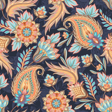 textile: Traditional oriental paisley pattern. Seamless vintage flowers background. Decorative ornament backdrop for fabric, textile, wrapping paper, card, invitation, wallpaper, web design.