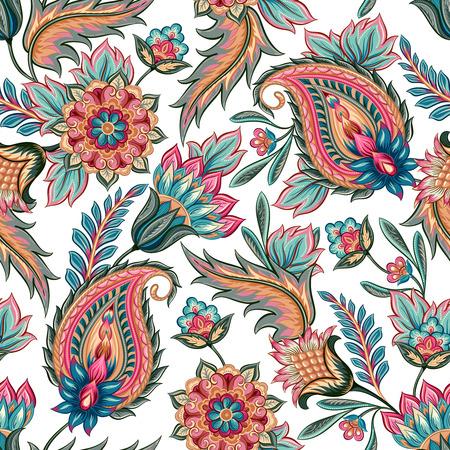 textil: Modelo inconsútil oriental tradicional de Paisley. Florece el fondo de la vendimia. Ornamento decorativo telón de fondo de la tela, textil, papel de regalo, tarjeta, invitación, papel pintado, diseño de páginas web. Vectores
