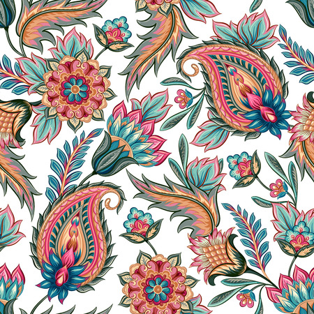 vector ornaments: Traditional oriental seamless paisley pattern. Vintage flowers background. Decorative ornament backdrop for fabric, textile, wrapping paper, card, invitation, wallpaper, web design.