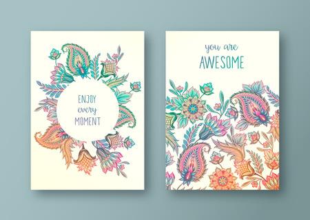 Set of vector greeting card, flyers, brochures, template design. Vintage paisley floral decorative ornamental background pattern.