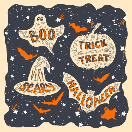 boo: Set of Halloween pumpkin, witch hat, bat, ghost symbols. Hand drawn trick of treat, scary, boo, halloween lettering in vintage style.