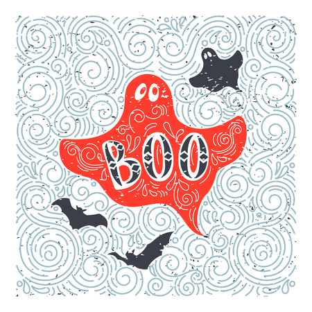 boo: Vector Halloween ghost. Hand drawn lettering Boo in grunge vintage style. Best for greeting card, posters, flayers.