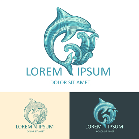dolphin fish: Dolphin and wave vector template with sample text. Isolated icon. Illustration