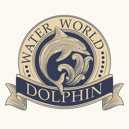 vintage wave: Dolphin and wave vector vintage label design template. Perfect, label, banner or badge decoration. Illustration
