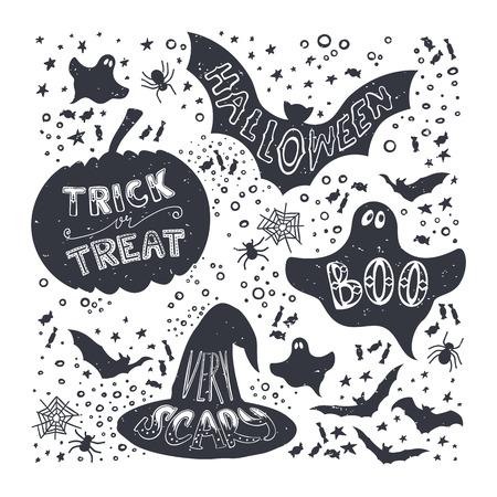 calabaza caricatura: Conjunto de calabaza de Halloween, sombrero de bruja, palo, fantasma, dulces símbolos. Dibujado a mano truco de tratar, asustadizo, abucheo, las letras de Halloween en el estilo de época. Vectores
