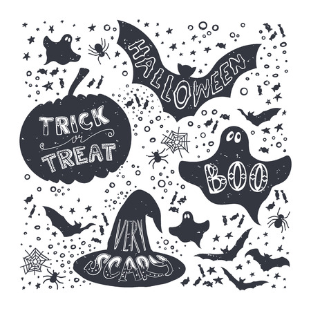 cartoon bat: Set of Halloween pumpkin, witch hat, bat, ghost, sweets symbols. Hand drawn trick of treat, scary, boo, halloween lettering in vintage style.
