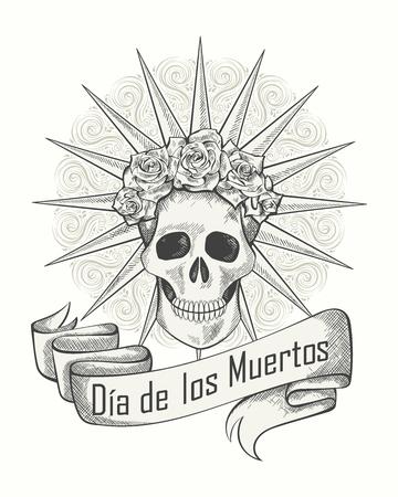 muertos: Traditional mexican festival Dias de los Muertos vector illustration of skull. Best for tattoo, wallpaper, poster, card, flyer, logo design concept