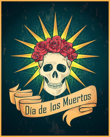 Traditional mexican festival Dias de los Muertos vector illustration of skull. Best for vintage tattoo, wallpaper, poster, card, flyer, logo design concept Illustration