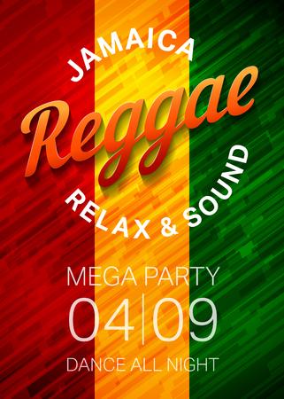 Reggae modello di partito poster. Rasta concetto volantino discoteca. Illustrazione vettoriale. Archivio Fotografico - 46790506