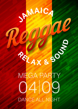 Reggae music party poster template. Rasta dance club flyer concept. Vector illustration. Ilustrace