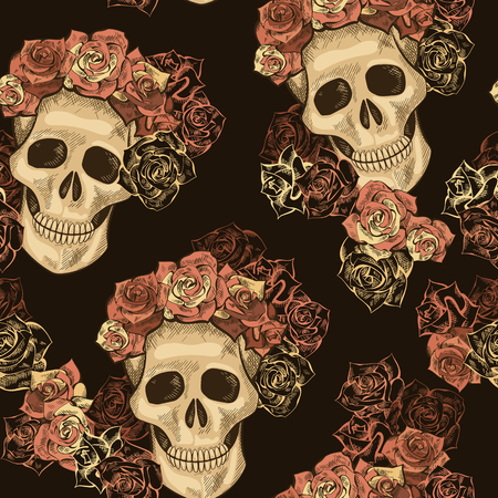 Hand drawn Day of The Dead, Dias de Los Muertos seamless pattern. Roses and skull vintage wallpaper, fabric, textile, paper, design. Illustration