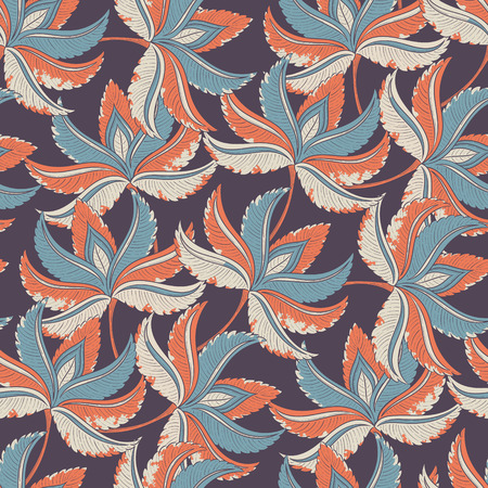 wall covering: Seamless retro leaves background pattern. Decorative backdrop for fabric, textile, wall covering, wrapping paper, card, invitation, wallpaper, web design. Illustration