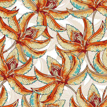 wall covering: Seamless colorfull leaves background pattern. Decorative backdrop for fabric, textile, wall covering, wrapping paper, card, invitation, wallpaper, web design.