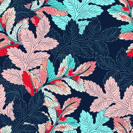 textil: de fondo sin fisuras patrón de hojas. telón de fondo decorativo para la tela, textil, papel de regalo, tarjeta, invitación, papel pintado, diseño web