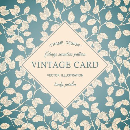 birthday card:  Vintage foliage decorative ornamental background pattern. Illustration