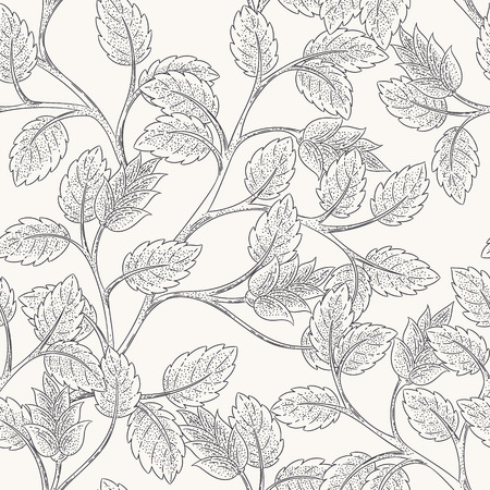 Seamless leaves branch background pattern.