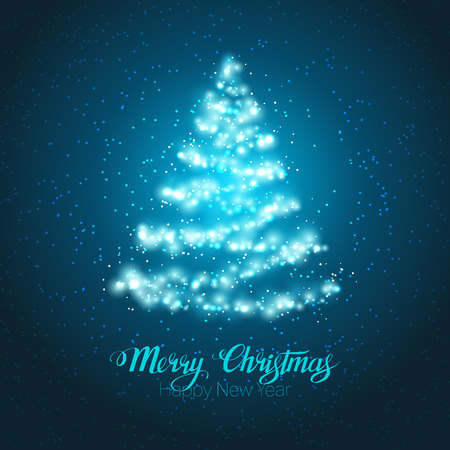 snow and trees: Elegant magic shining Christmas tree on blue background.