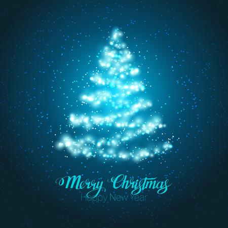 boom: Elegant magische stralende kerstboom op een blauwe achtergrond.