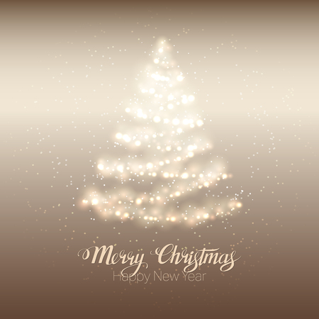 Elegant magic shining Christmas tree on gold background.  Ilustrace