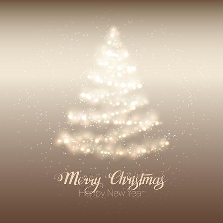 Elegant magic shining Christmas tree on gold background.  Illustration