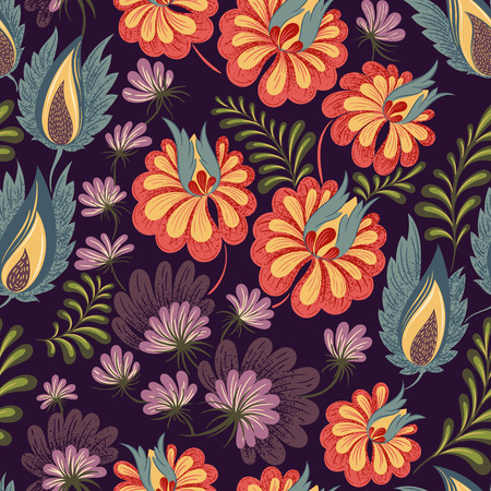 textile: Seamless floral background pattern. Decorative backdrop for fabric, textile, wrapping paper, greeting card, invitation, wallpaper, web design. Vector illustration